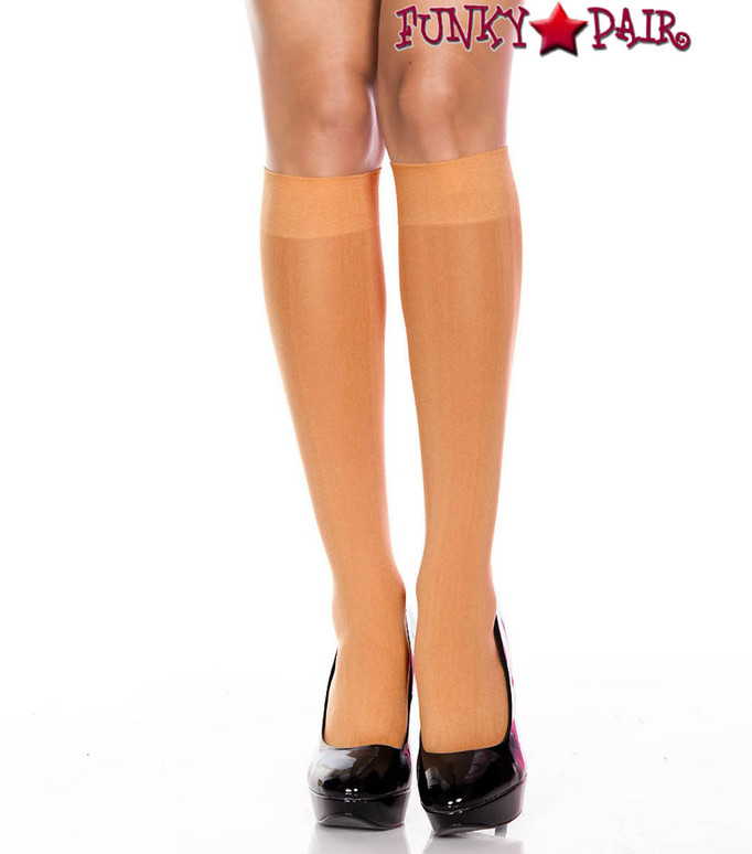 Opaque Knee High Socks by Music Legs ML-5747 color Suntan