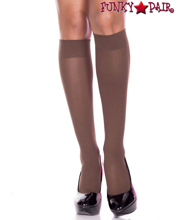 ML-5747, Opaque Coffee Dark Brown Knee High Socks by Music Legs