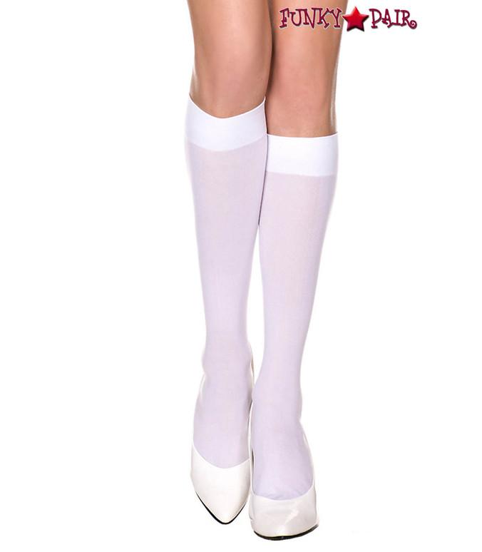White Opaque Knee High Socks by Music Legs ML-5747