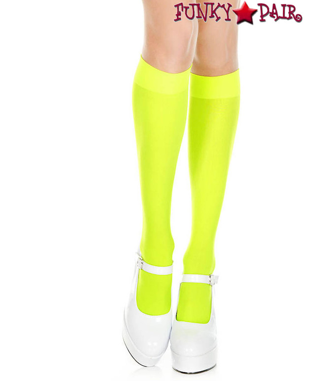 ML-5747, Opaque Neon Green Knee High Socks by Music Legs
