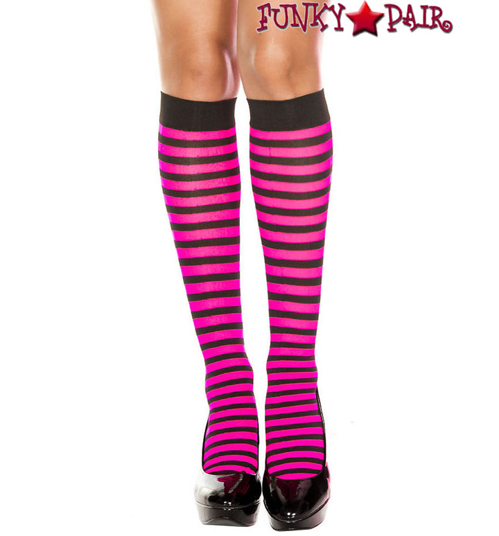 ML-5741, Black/Hot Pink Striped Knee High Socks by Music Legs
