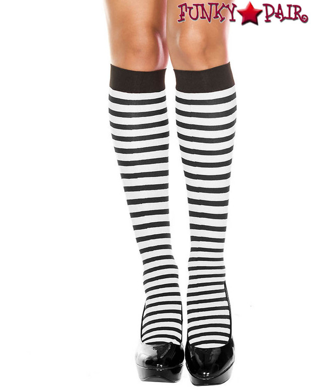 Black/White Striped Knee High Socks by Music Legs ML-5741