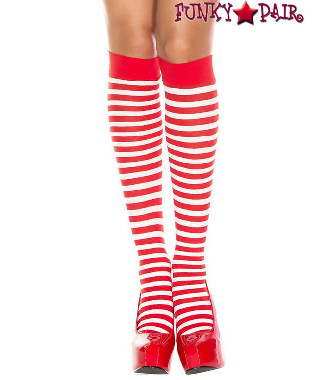 ML-5741, Red/White Striped Knee High Socks by Music Legs