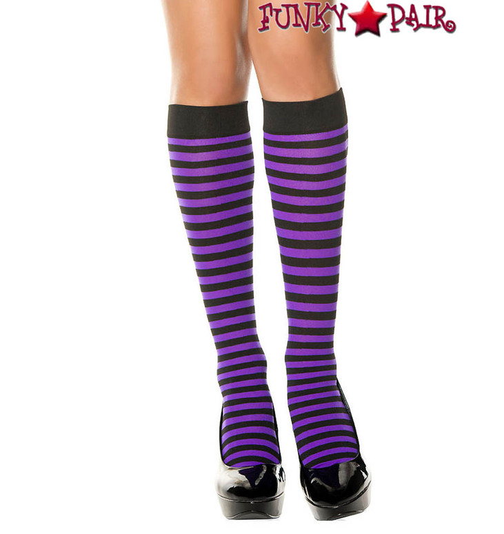 Black/Purple Striped Knee High Socks by Music Legs ML-5741