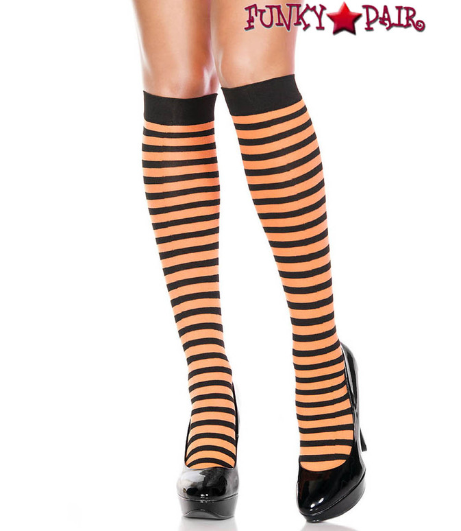 Black/Neon Orange Striped Knee High Socks by Music Legs ML-5741