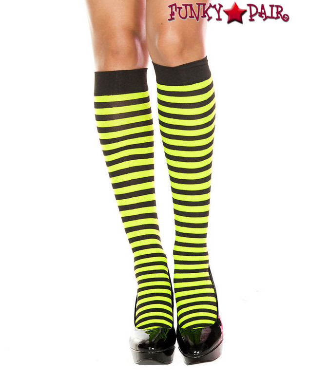 Black/Neon Green Striped Knee High Socks by Music Legs ML-5741