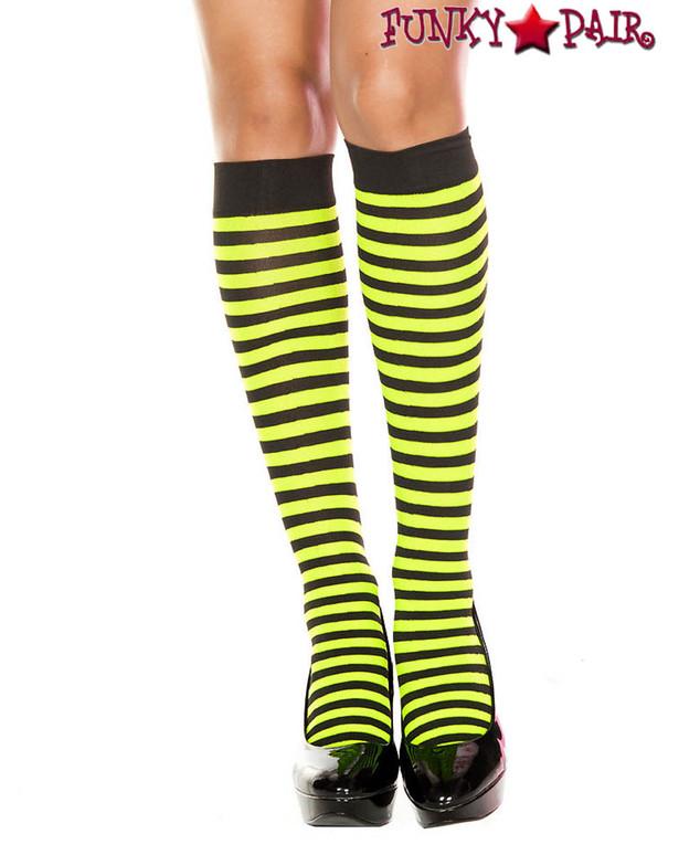 Black/Neon Green Striped Knee High Socks by Music Legs ML-5741