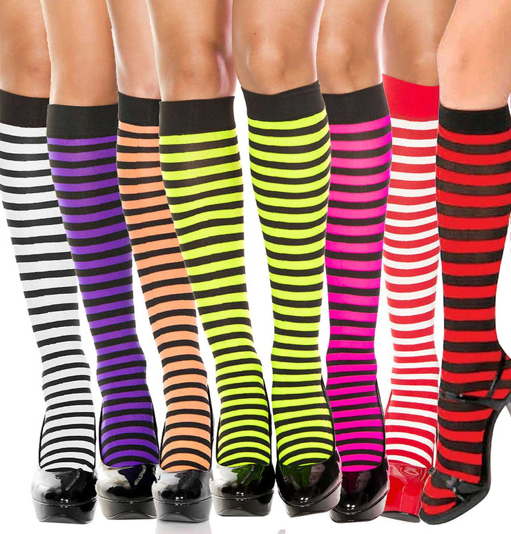 Striped Knee High Socks by Music Legs | ML-5741
