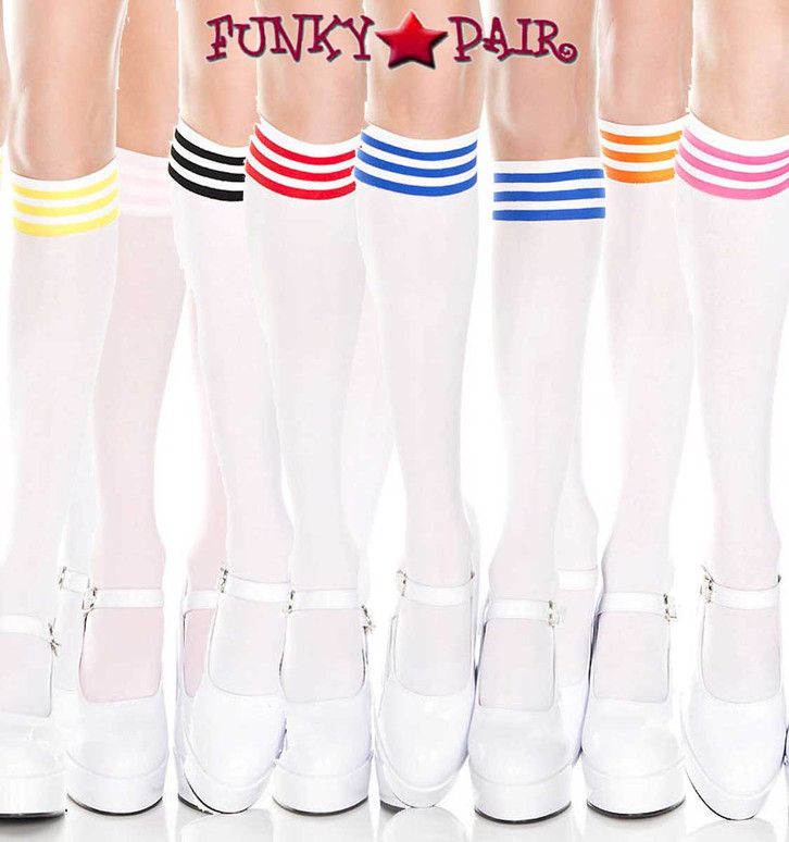 ML-5736, White Knee High Sock with Striped by Music Legs
