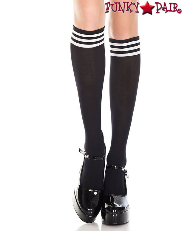 Black Knee High Sock with White Striped Top by Music Legs ML-5736