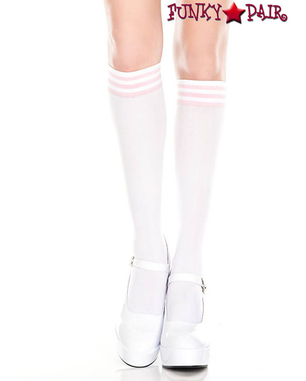 Music Legs ML-5736, White Knee High Sock with Baby Pink Striped