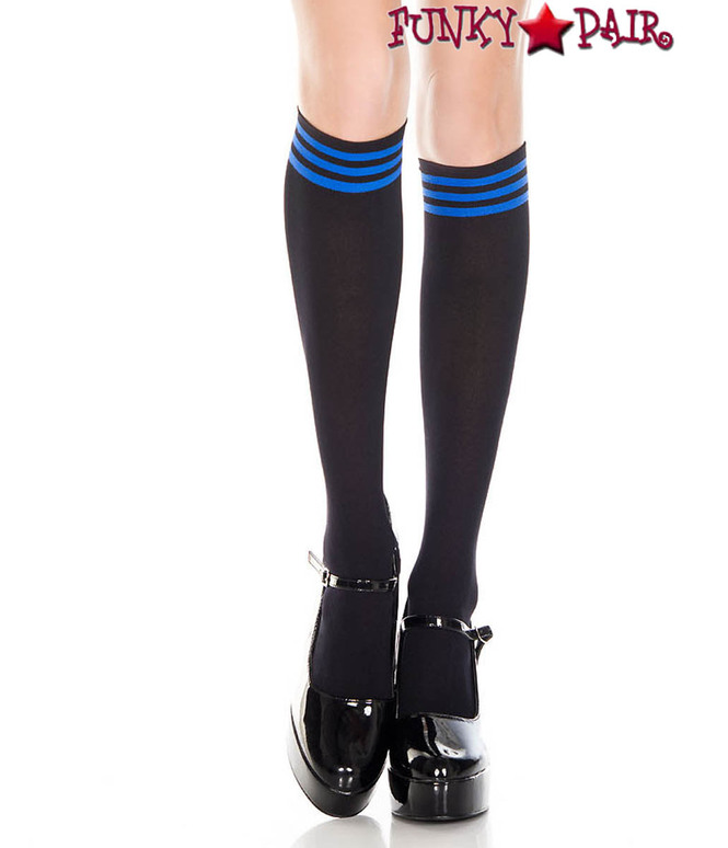 ML-5736, Black Knee High Sock with Blue Striped Top by Music Legs