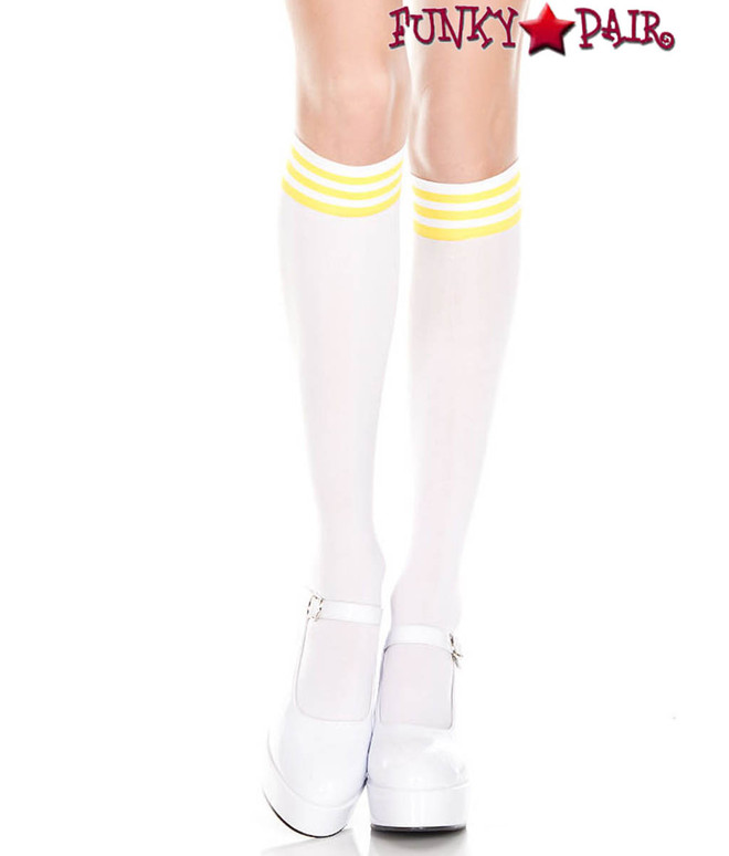 ML-5736, White Knee High Sock with Yellow Striped by Music Legs