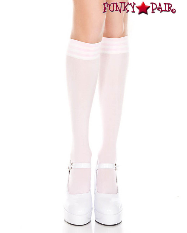 Pink Knee High Sock with White Striped by Music Legs ML-5736