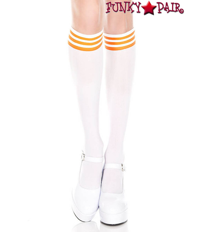 White Knee High Sock with Orange Striped by Music Legs ML-5736