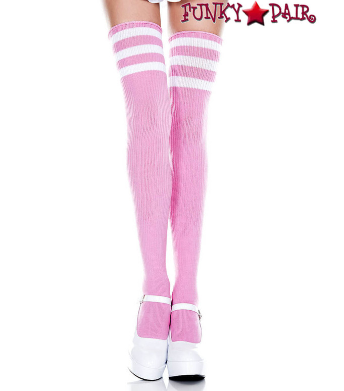 Pink Thigh High With White Athletic Striped by Music Legs ML-4245