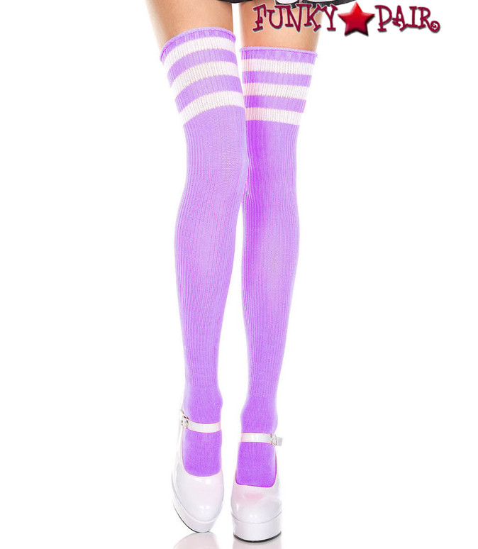 Music Legs ML-4245, Light Purple Thigh High With White Athletic Striped