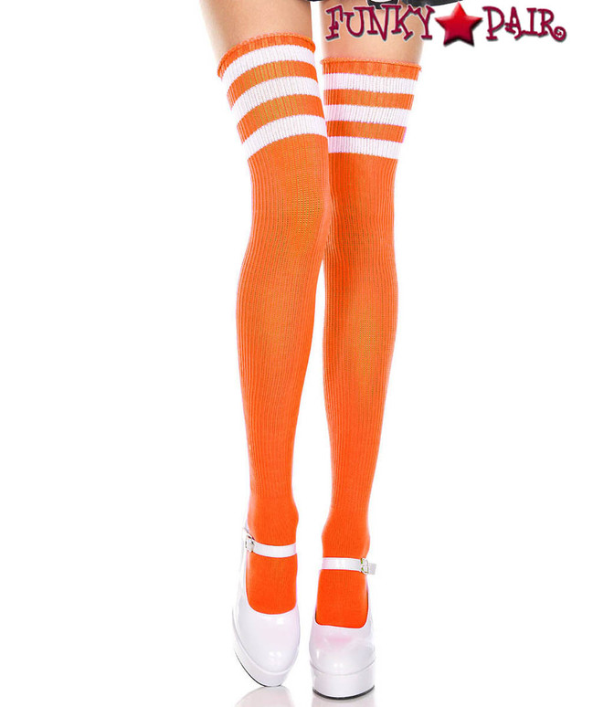 Music Legs ML-4245, Neon Orange Thigh High With White Athletic Striped