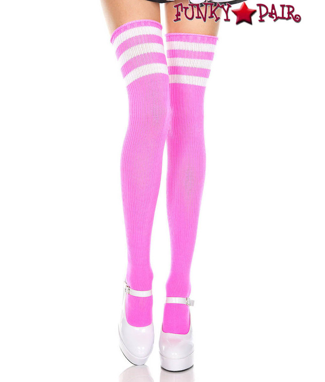Music Legs ML-4245, Neon Pink Thigh High With White Athletic Striped