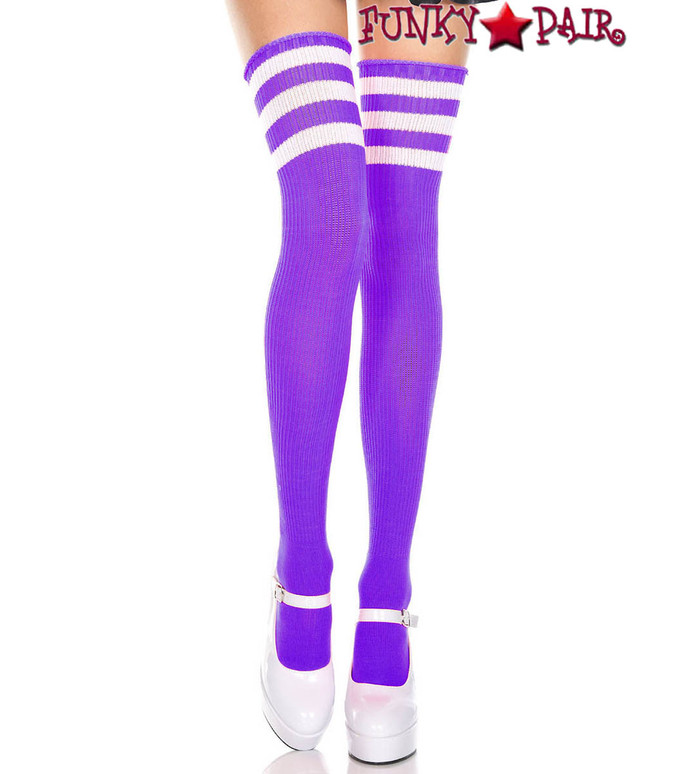 Music Legs ML-4245, Purple Thigh High With White Athletic Striped