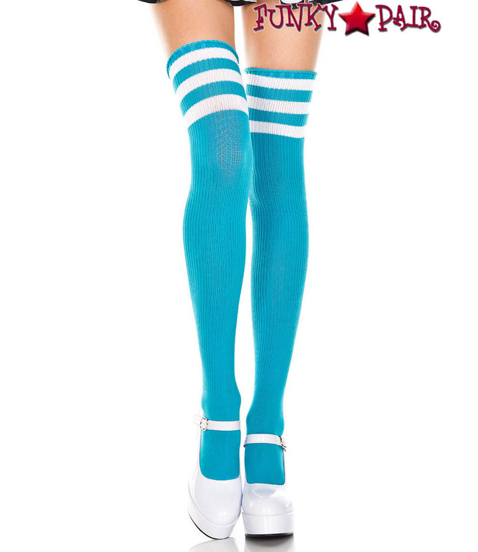 Music Legs ML-4245, Turquoise Thigh High With White Athletic Striped