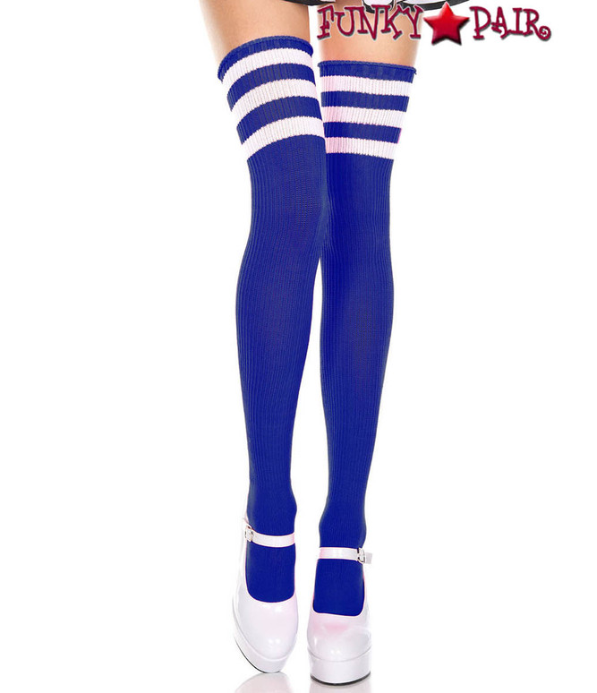 Royal Blue Thigh High With White Athletic Striped by Music Legs ML-4245