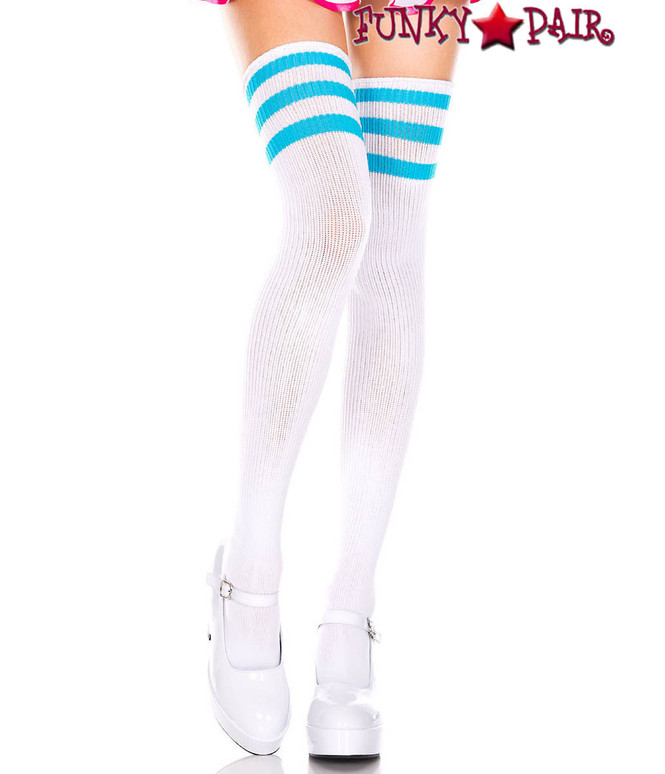 White Thigh High With Neon Blue Athletic Striped by Music Legs ML-4245