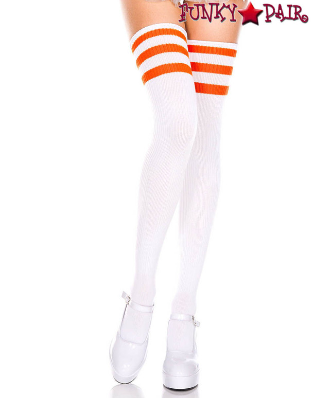 White Thigh High With Orange Athletic Striped by Music Legs ML-4245