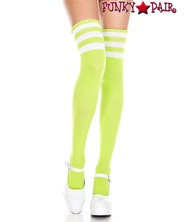 Music Legs ML-4245, Neon Green Thigh High With White Athletic Striped