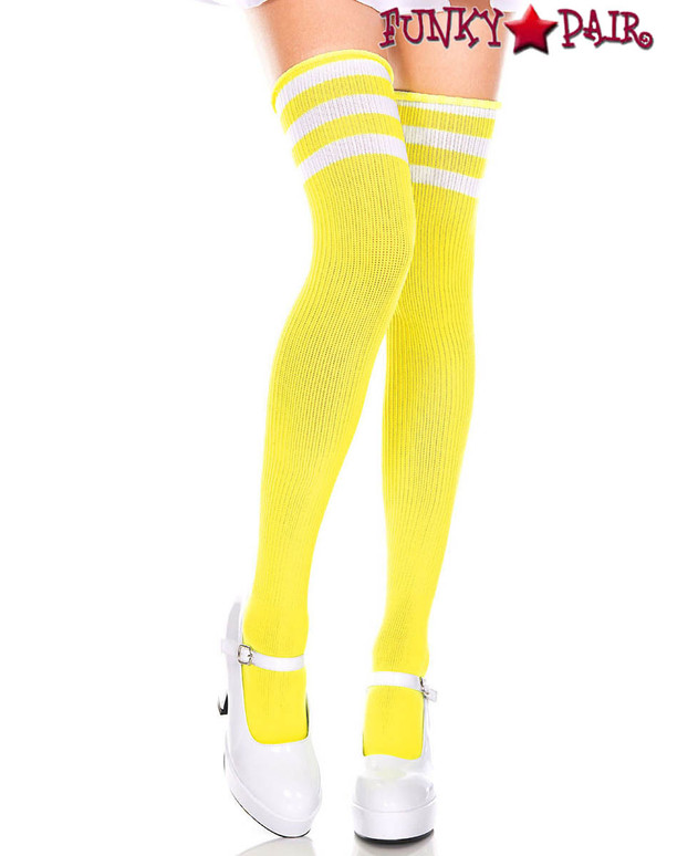 Music Legs ML-4245, Yellow Thigh High With White Athletic Striped