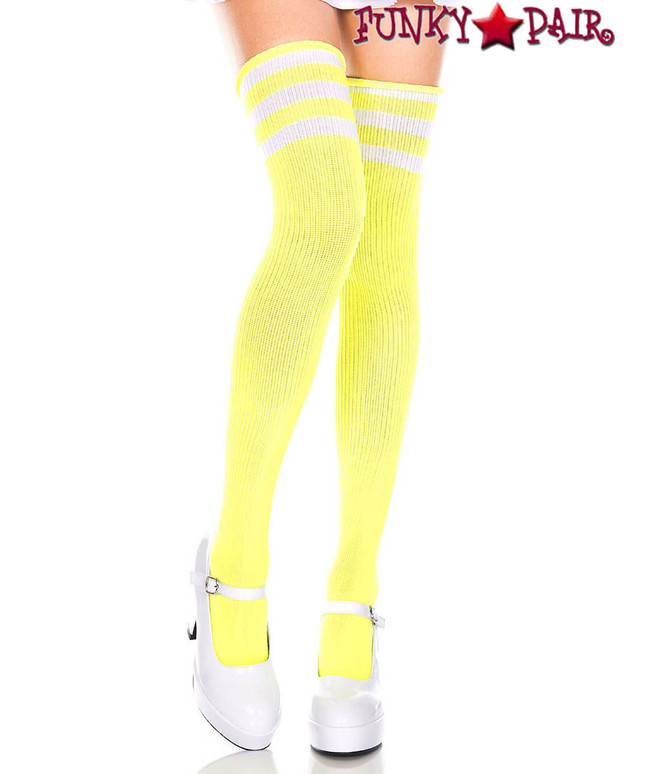 Neon Yellow Thigh High With White Athletic Striped by Music Legs ML-4245