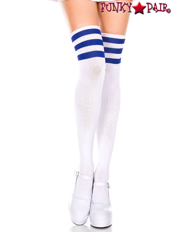 Music Legs ML-4245, White Thigh High With Royal Blue Athletic Striped