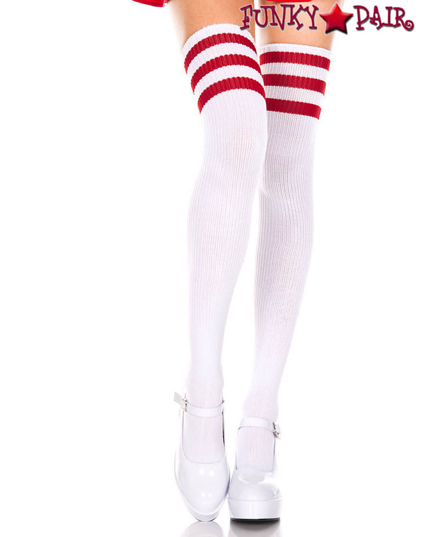 Music Legs ML-4245, White Thigh High With Red Athletic Striped