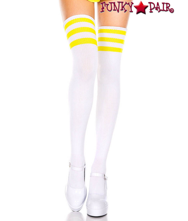 Music Legs ML-4245, White Thigh High With Neon Yellow Athletic Striped