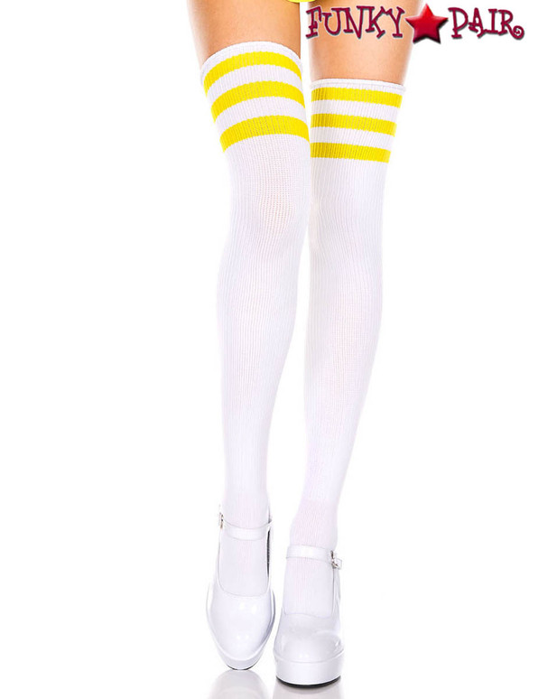 White Thigh High With Yellow Athletic Striped by Music Legs ML-4245