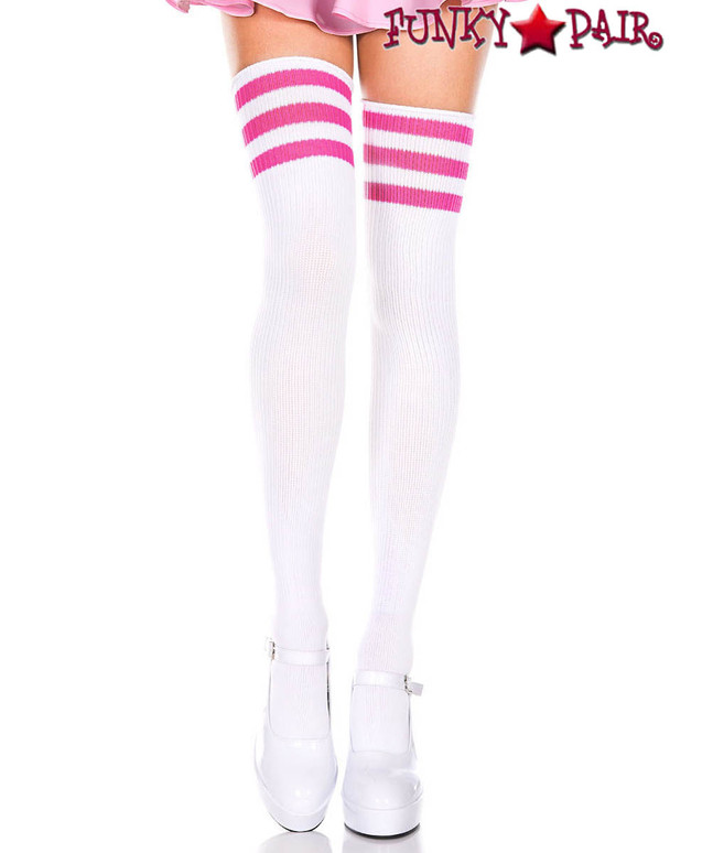 White Thigh High With Hot Pink Athletic Striped by Music Legs ML-4245