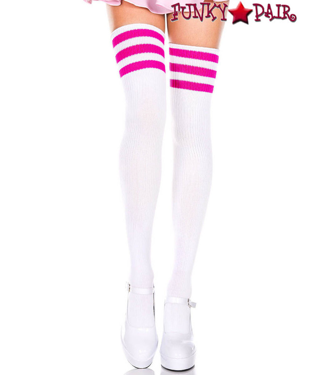 White Thigh High With Fuchsia Athletic Striped by Music Legs ML-4245