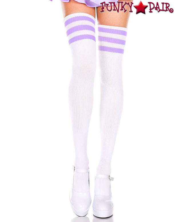 Music Legs ML-4245, White Thigh High With Light Purple Athletic Striped