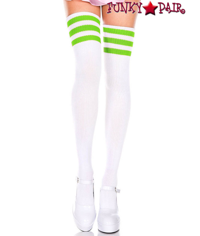 Music Legs ML-4245, White Thigh High With Lime Green Athletic Striped