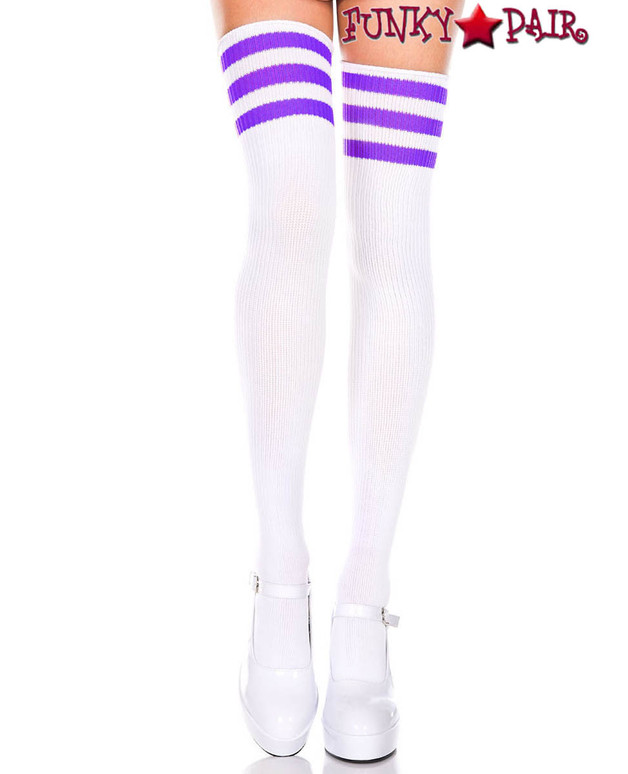 Music Legs ML-4245, White Thigh High With Purple Athletic Striped