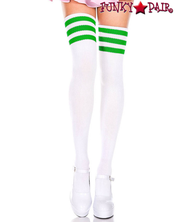 White Thigh High With Kelly Green Athletic Striped by Music Legs ML-4245