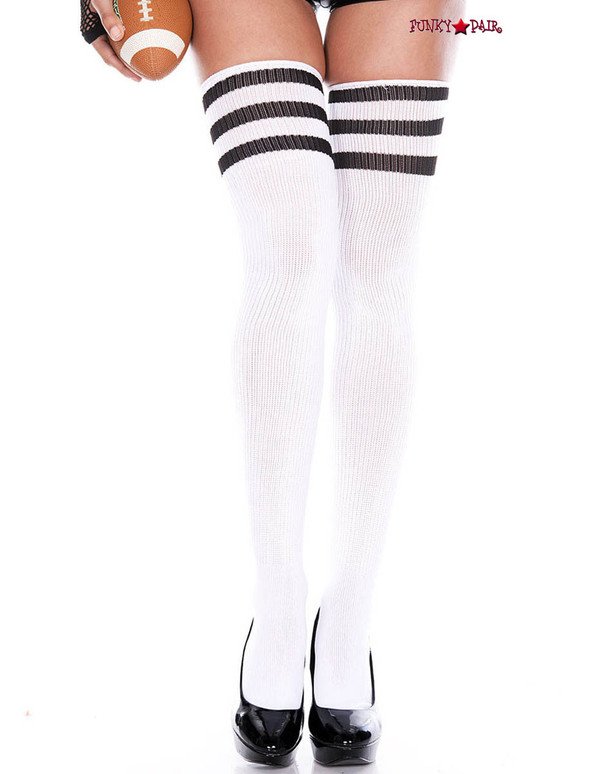 White Thigh High With Black Athletic Striped by Music Legs ML-4245