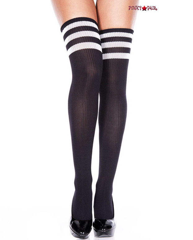 Black Thigh High With White Athletic Striped by Music Legs ML-4245