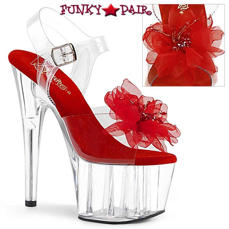 Pleaser   Adore-708BFL, Platform Sandal with Sheer Red Flower