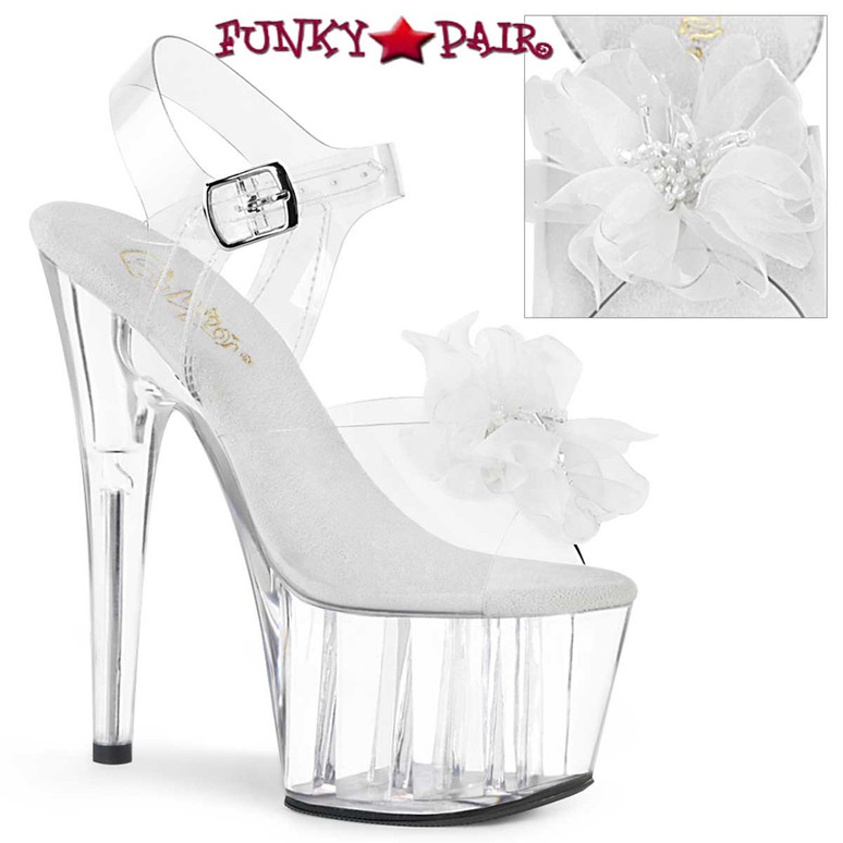 Adore-708BFL, Platform Sandal with Sheer White Flower by Pleaser
