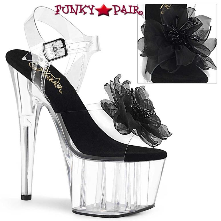 Pleaser   Adore-708BFL, Platform Sandal with Sheer Black Flower
