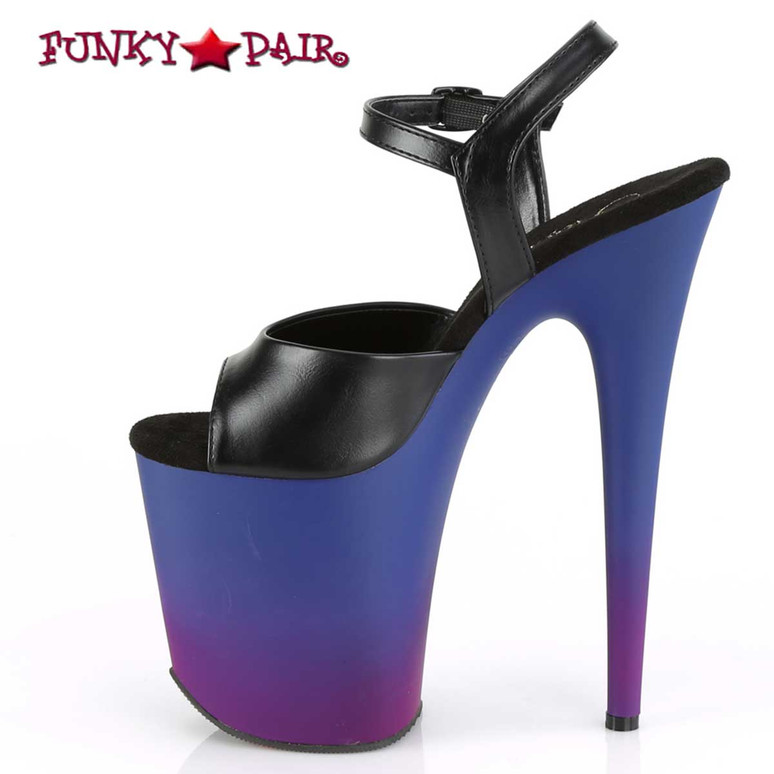 Flamingo-809BP, 8 Inch Platform with Ombre Effect by Pleaser Shoes inner side view