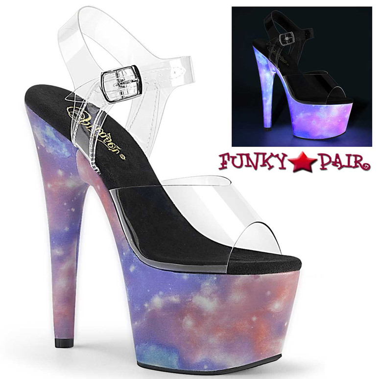 Pleaser | Adore-708REFL, Platform Sandal with Reflective Galaxy