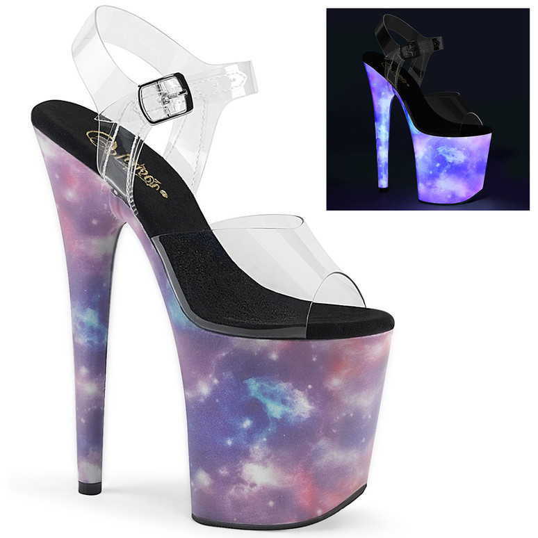 Flamingo-808REFL, Platform Sandal with Galaxy Effect by Pleaser Shoes