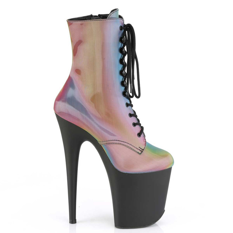 Pleaser | Flamingo-1020REFL, Ankle Boots with Rainbow Reflective side view